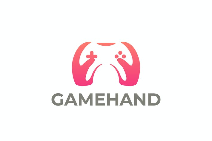Game Joystick and Hands Negative Space Logo