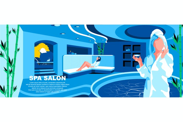 Spa Salon Flat Concept Landing Page Header