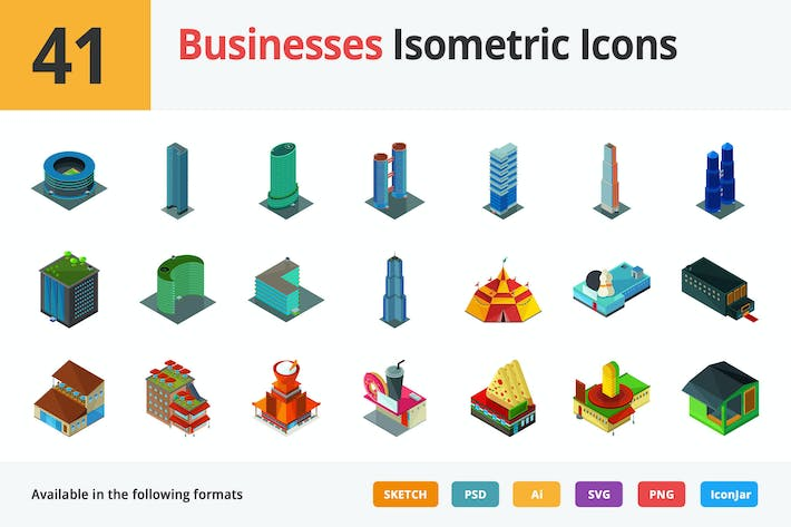 Cover Image For Businesses Vector Isometric Icons