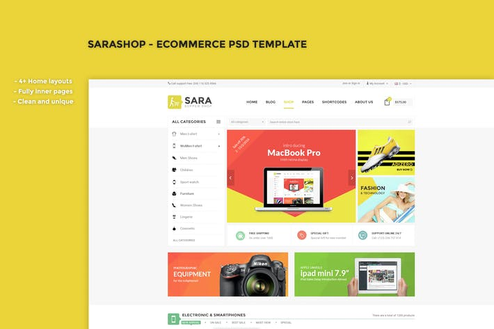 Thumbnail for SaraShop - eCommerce PSD Template