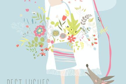 Chica sosteniendo ramo de flores. Tarjeta de felicitación vectorial
