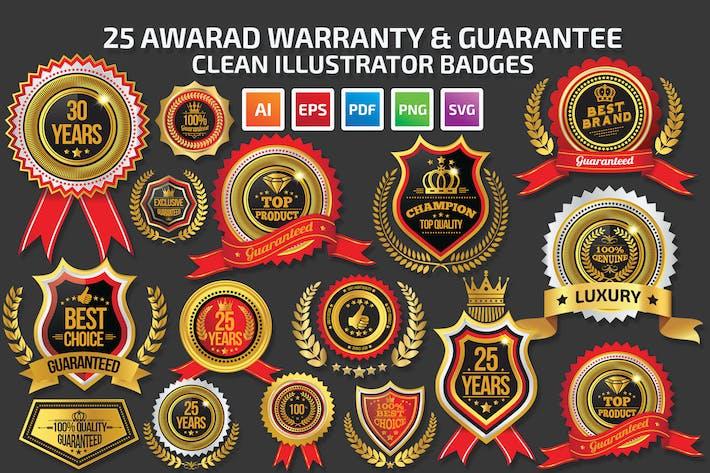 Thumbnail for 25 Award Warranty Guarantee Badges
