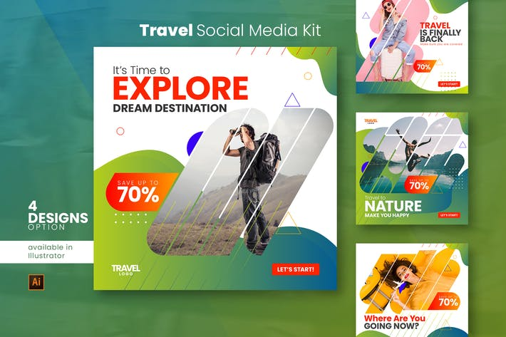 Thumbnail for Travel Social Media Post Kit