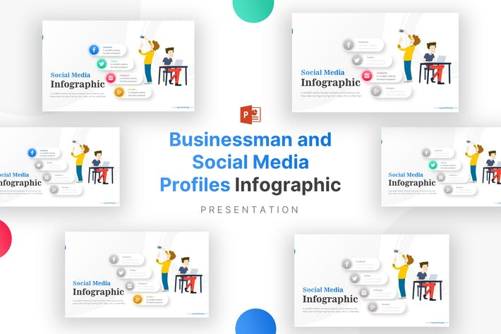 Thumbnail for Businessman and Social Media Profiles Infographic