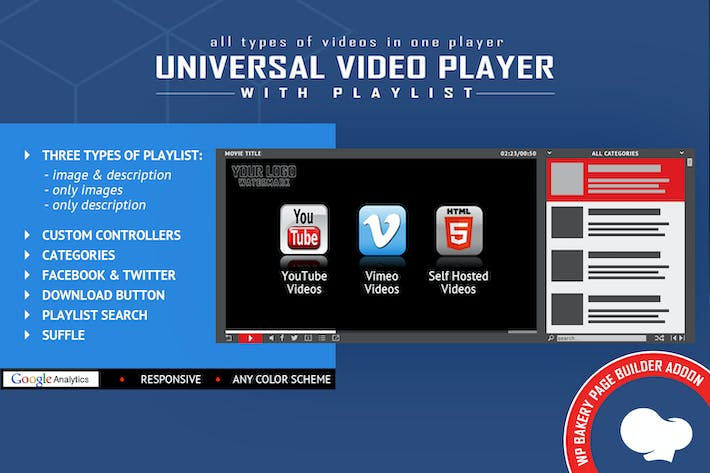Universeller Video player für WPBakery Page Builder