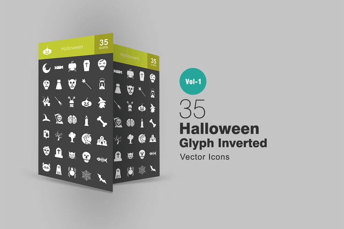 Cover Image For 35 Halloween Glyph Inverted Icons
