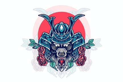 wolf samurai with rose illustration