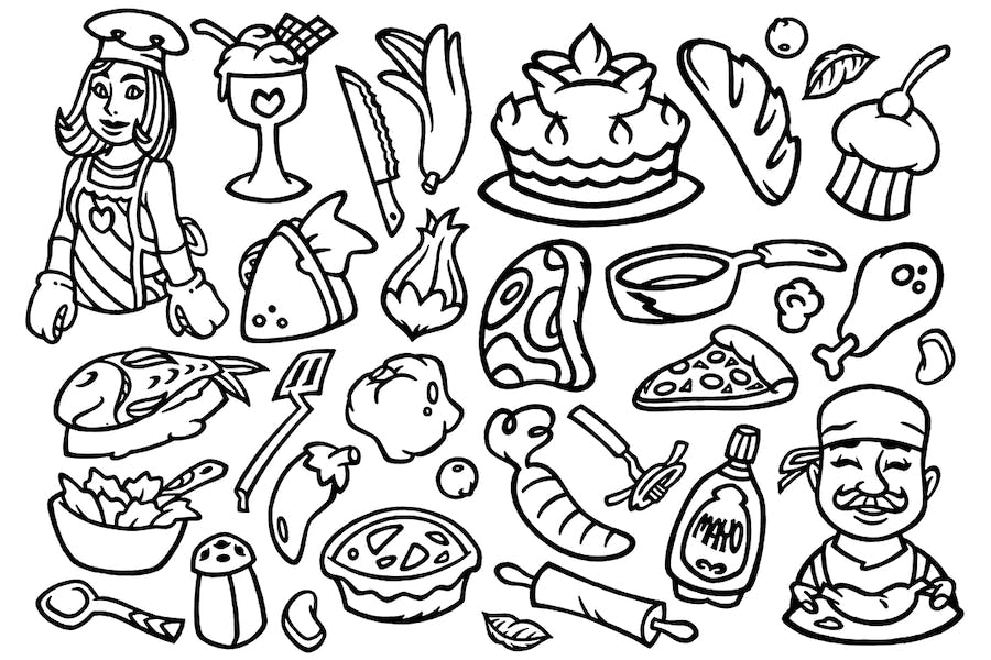 30 Cooking Doodles Clipart
