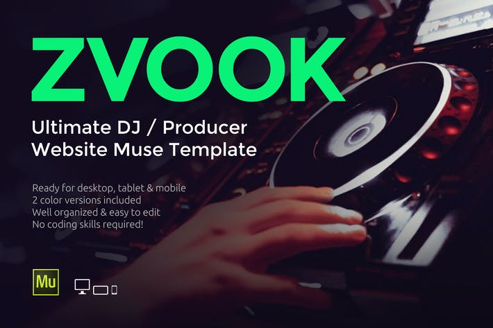 Thumbnail for Zvook - DJ / Producer Website Muse Template
