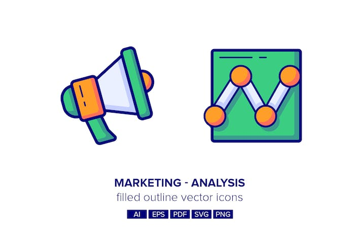 Thumbnail for Marketing & Analysis Filled Outline Icons