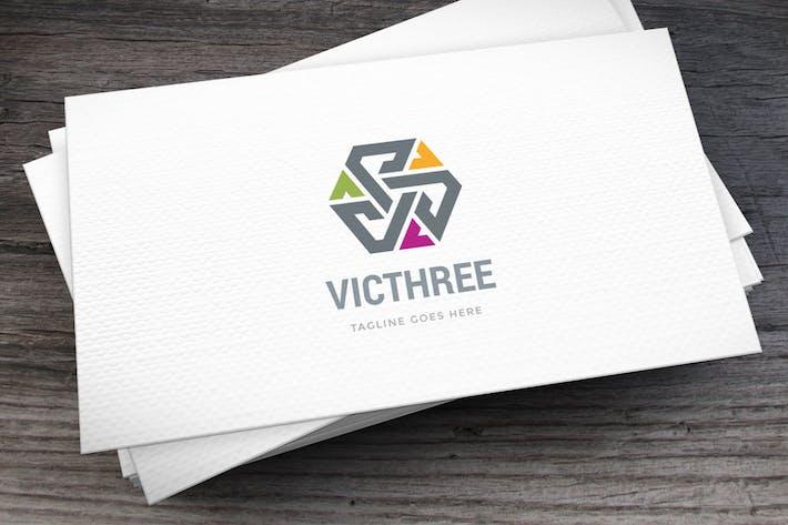 Шаблон логотипа Victhree