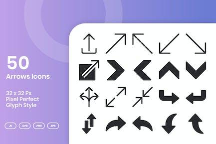 50-Pfeile-Ikonen-Set - Glyphe
