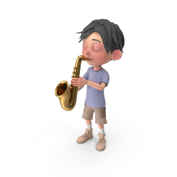 Cartoon Boy Jack Playing Saxophone