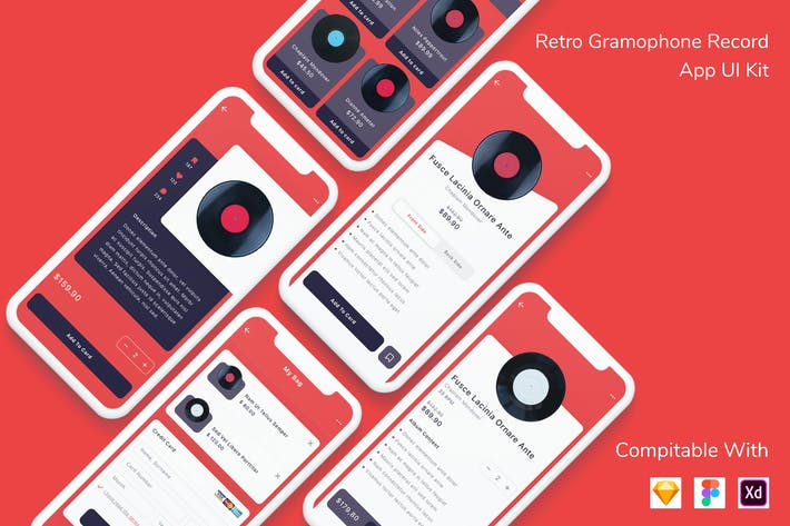 Thumbnail for Retro Gramophone Record App UI Kit