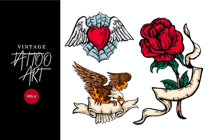 Thumbnail for 3 Vintage Hand Drawing Tattoo Vector 2