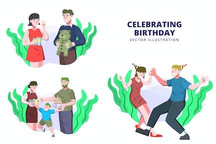 Geburtstag feiern - Vektor-Illustration