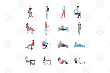 People, male, female, in different reading poses