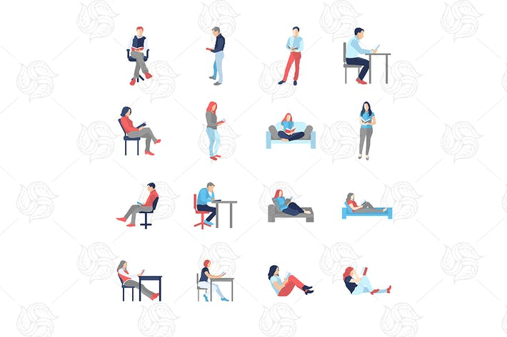 Cover Image For People, male, female, in different reading poses