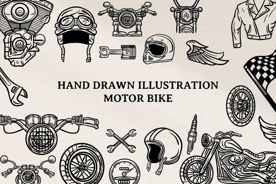 Motor Bike Hand Drawn Ilustration