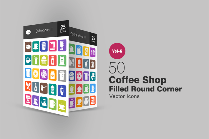 Thumbnail for 50 Coffee Shop Filled Round Corner Icons