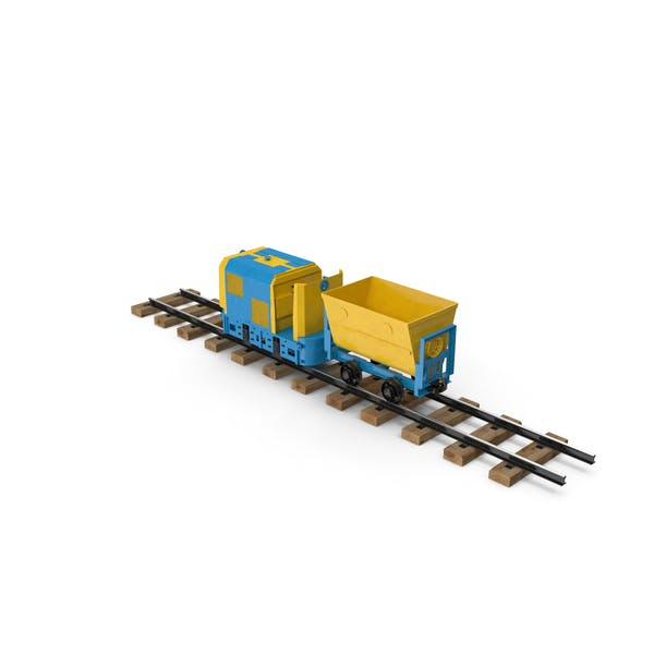 Mining Locomotive with Minecart on Railway Section