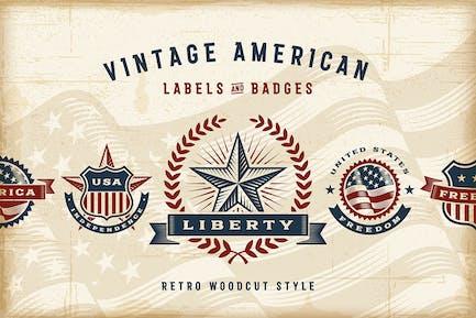 Vintage Amerikanische Etiketten Set