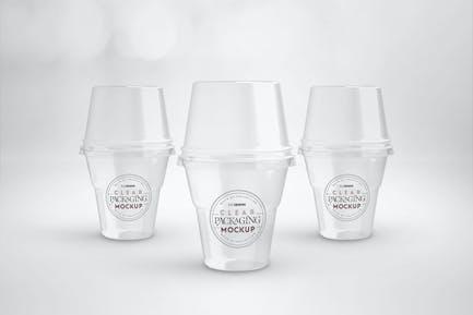 Clear Sundae Ice Cream Cups with Lids  Mockup