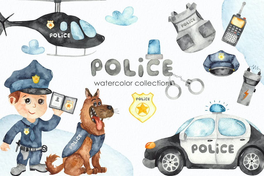 Watercolor Police. Clipart, cards, patterns