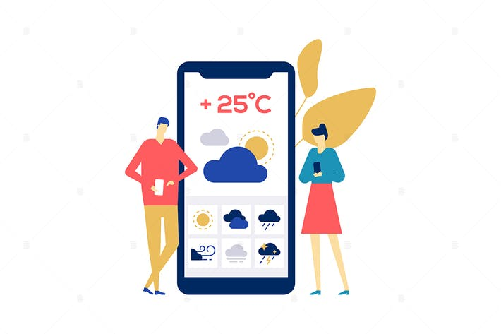 Thumbnail for Weather concept - flat design style illustration
