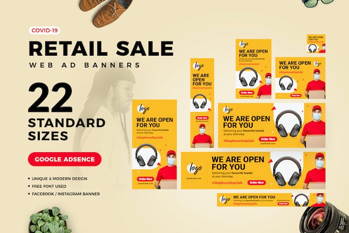 Thumbnail for Covid-19 Retail Sale Web Ad Banners