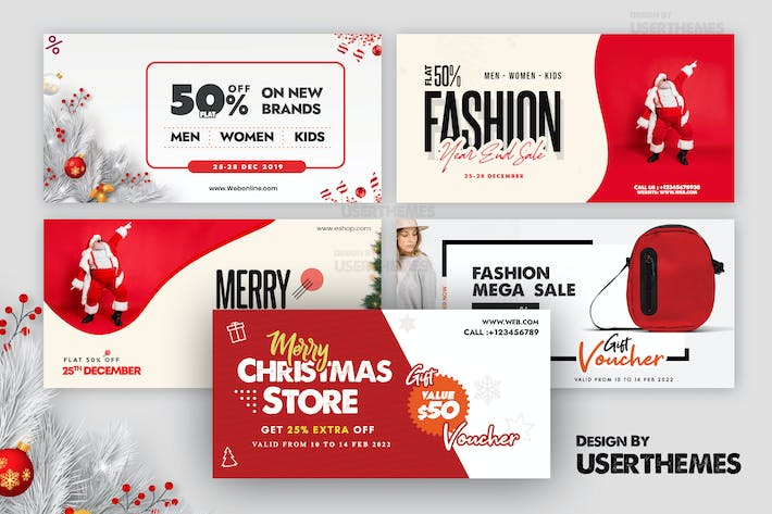 Thumbnail for Merry Christmas Set of Banners Template 2020