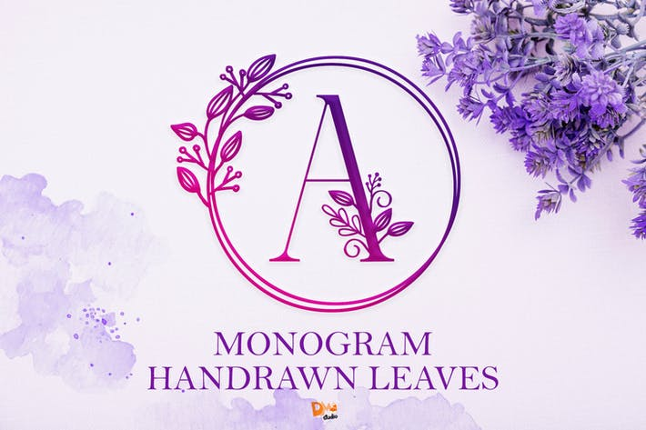 Monogram Handrawn Leaves