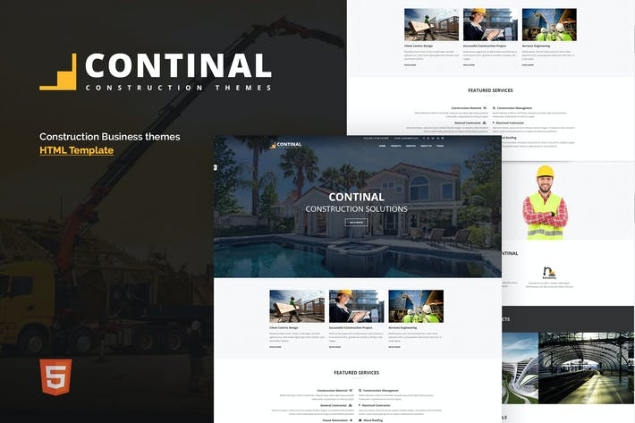 Thumbnail for Continal - Modèle HTML5 Business Construction