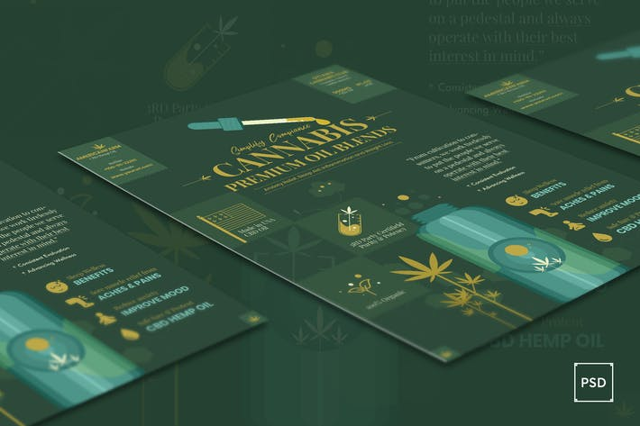 Cover Image For Cannabis Hemp Oil Products Flyer PSD Template