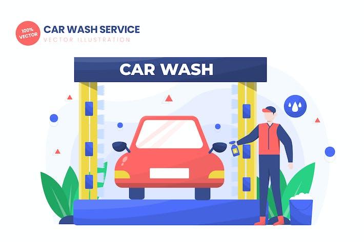 Thumbnail for Car Wash Service Flat Vector Illustration