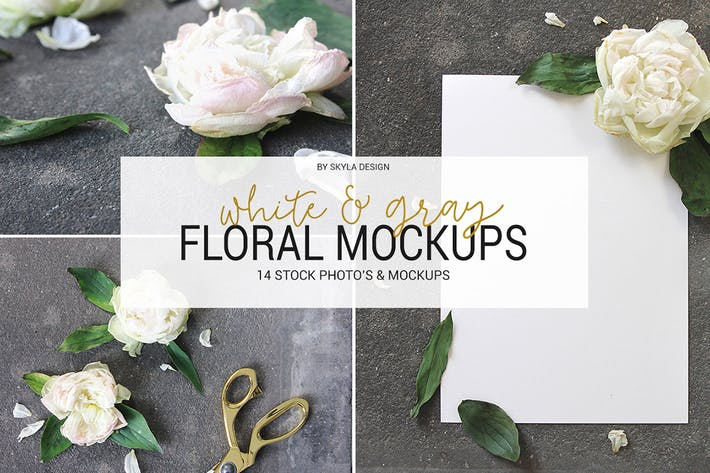 Thumbnail for White & gray floral mockup stock