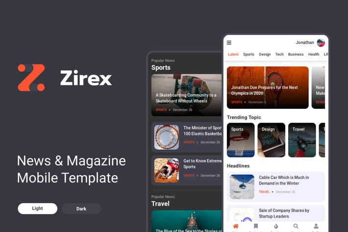 Thumbnail for Zirex - News & Magazine Mobile Template