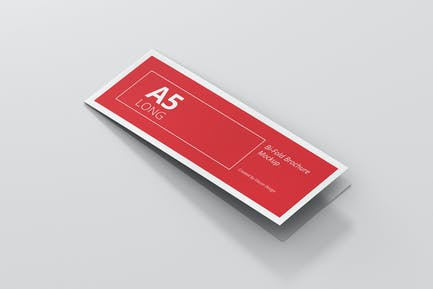 A5 Long Bi-Fold Brochure Mock-Up Landscape