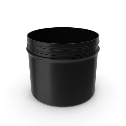 Plastic Jar Wide Mouth Straight Sided Short 32oz Without Cap Black