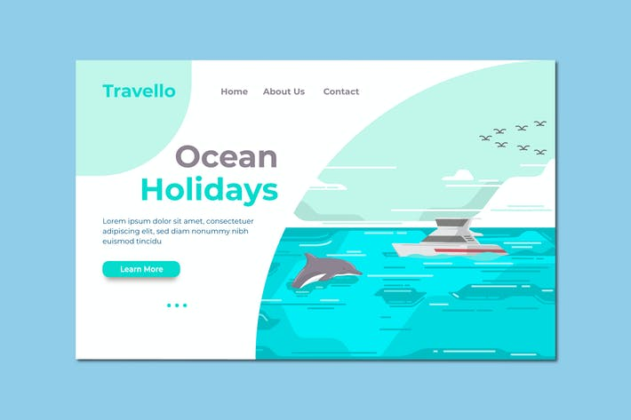 Cover Image For Ocean Holiday Landing Page Illustration