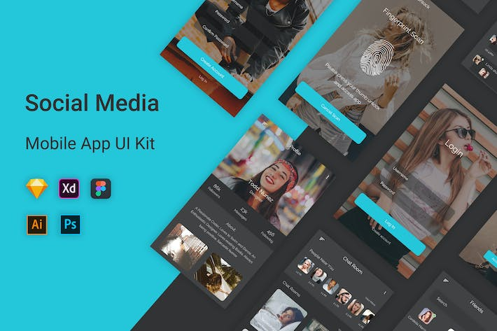 Thumbnail for Social Media Mobile App UI Kit