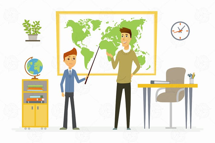 Thumbnail for Geography lesson at school - vector illustration