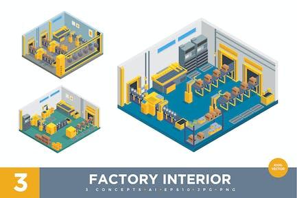 3 Изометрические заводские внутренние Вектор набор 1