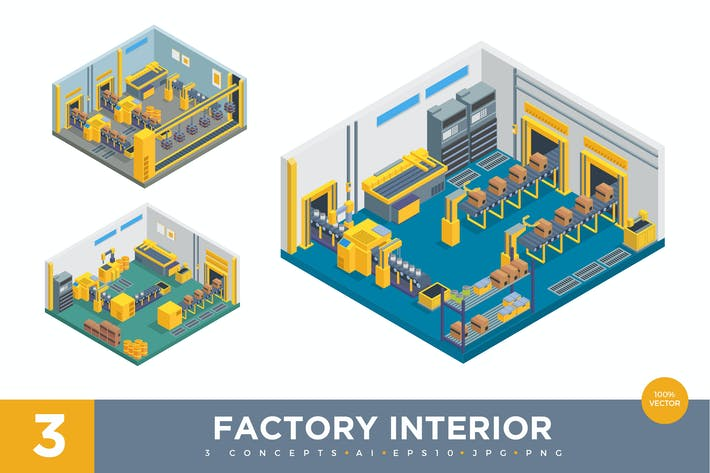 Thumbnail for 3 Isometric Factory Interior Vector Set 1