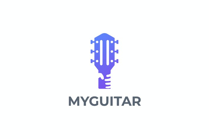 Thumbnail for Modern Guitar and Hand Negative Space Logo