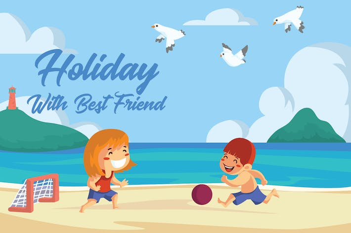 Thumbnail for Holiday With Friend - Vector Illustration