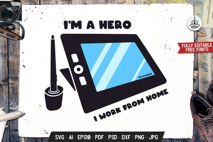 Thumbnail for I Hero I Work From Home Retro Vector Badge Design