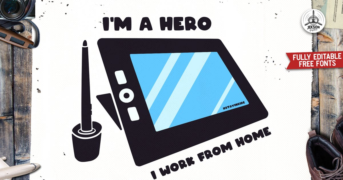 Download I Hero I Work From Home Retro Vector Badge Design by JeksonJS