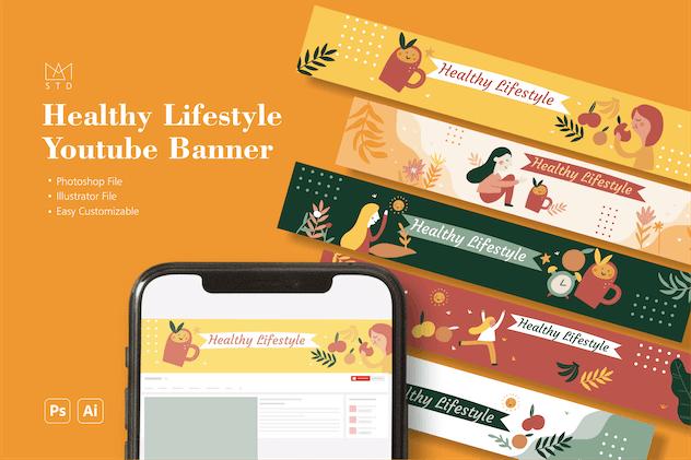 Fun Healthy Lifestyle Youtube Banner Vol. 1