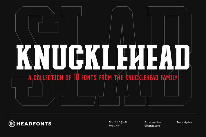 Thumbnail for Knucklehead Slab | Sport Font